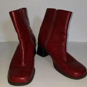 Naturalizer  Red Leather Ankle Boots Size 8